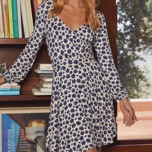 Free People - Ivory Floral Long Sleeve Wrap Dress